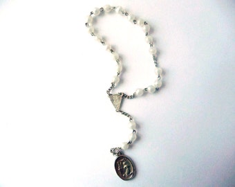 Rosary Chain, Vintage, Silver Tone, Metal, White Plastic Balls, Small Rosary