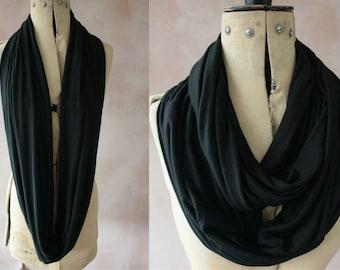 Infinity scarf - XL Circle scarf, Eternity scarf, Jersey scarf, Loop scarf, Snood, T-Shirt scarf - Black