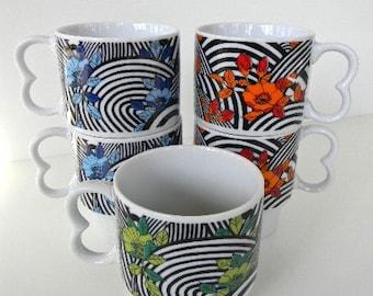 vintage groovy art mug set from japan