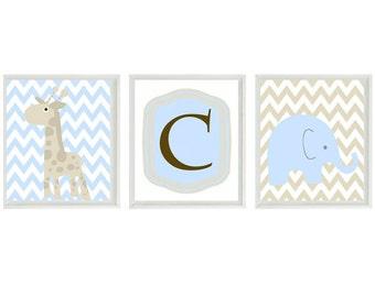 Elephant Giraffe Chevron Nursery Wall Art Print - Blue Tan Brown -Initial Children Baby Room - Wall Art Home Decor  -  Prints