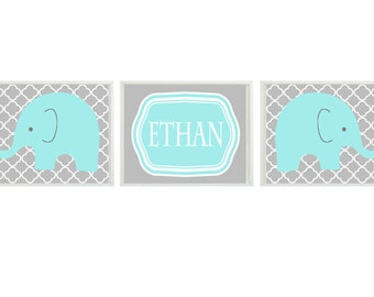 Elephant Nursery Art Print - Aqua Gray Decor - Name Personalize Customize Children Kid Baby Boy Room - Wall Art Home Decor  -  Prints