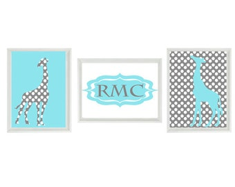 Giraffe Wall Art Print Set   - Baby Nursery Children Kid Room Personalize Initials Aqua Gray Polka Dots Custom Home Decor