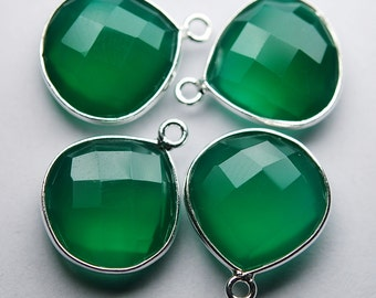 925 Sterling Silver,GREEN ONYX  Faceted Heart Shape Pendant,2 Piece of 20mm