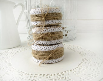 Natural Burlap Ribbon with White Lace - 1.5 inch x 3 yards