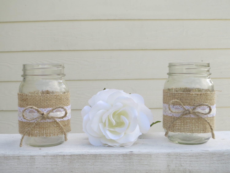 4 Burlap and Lace Mason Jar Wedding Centerpieces or  4 Burlap and La...