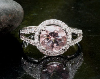 Split Shank Morganite Ring in 14k White Gold with Diamond Halo and Pink Morganite Round 8mm