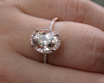 Rose Gold Morganite Engagement Ring in 14k Rose Gold With Peach Pink Flawless Morganite Oval 10x8mm and Diamond Halo Ring