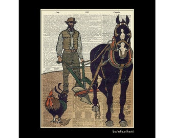 Vintage Dictionary Art Plow Horse Chicken Farm Print Book Page Art Print No. P31