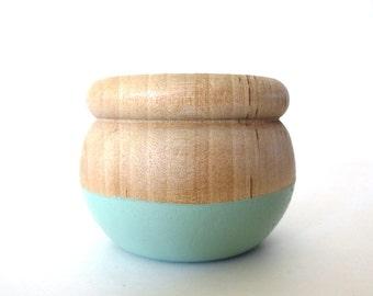 Mint green jewelry box, wood jewelry box, tiny box, round wood box, painted wood box, pastel