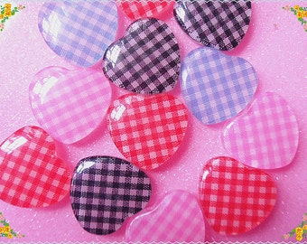 10 pcs Mix colors Lattice hearts cabochon  24x22mm