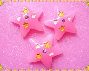 10pcs Pink Star  rhinestone flat back cabochon 32mm