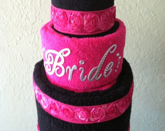 Bridal wedding towel cake