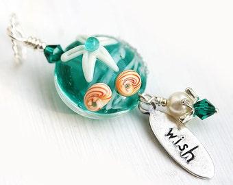 Starfish Pendant, Beach Jewelry, Teal Ocean Pendant, Lampwork Glass Pendant, Starfish Jewelry, Wish Pendant, Seashell jewelry by MayaHoney