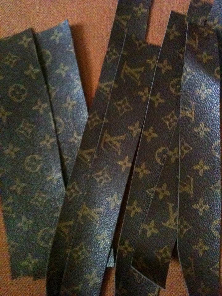 Louis Vuitton Inspired Vinyl Fabric Choc Brown Gold