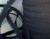 5yds Elastic Lace Trim 1/2 inch - 13mm - Black Elastic Stretch Lace Headbands Ruffle Elastic by the yard