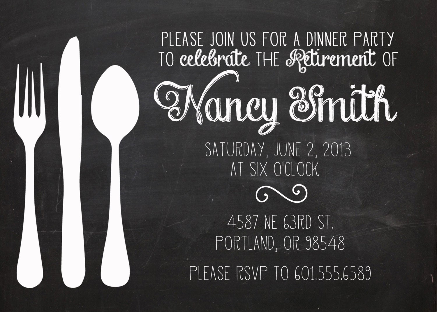 Retirement party invitation dinner party invitation retirement retirement party invitation dinner party invitation retirement party chalkboard invitation retirement party invite luncheon invitation monicamarmolfo Choice Image