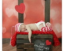 Valentine's Photography Prop Set. Newborn baby girl Valentine's prop bundle.  Crochet headband, leg warmers, beanie, and diaper cover.