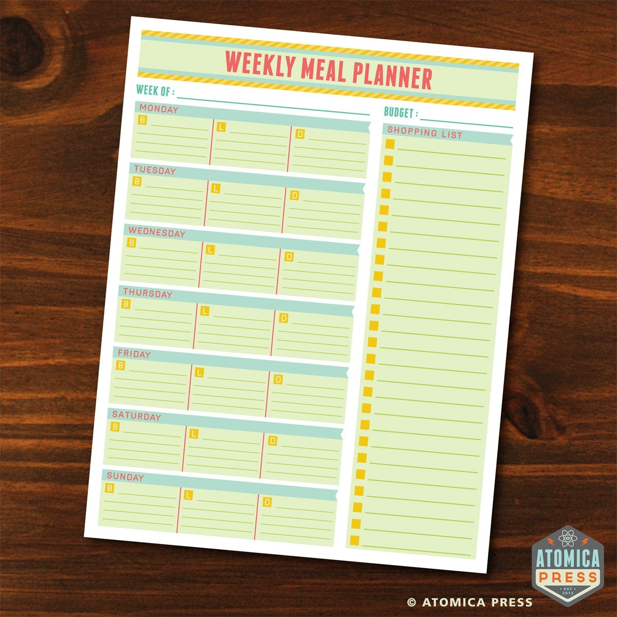 Cute Weekly Meal Planner Template Printable weekly menu planner