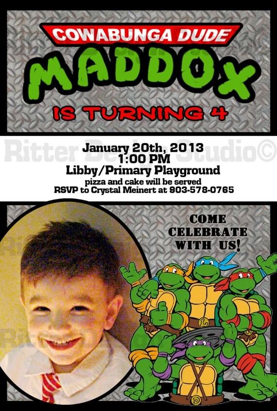 Ninja Turtle Birthday Invitations Printable Free is luxury invitations template