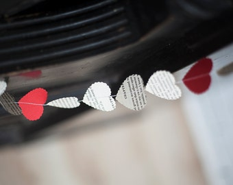 bunting - 50 feet, valentaines party decoration, heart