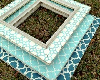 oversized distressed picture frames set of 3 | moroccan decor | quatrefoil | robins egg blue | mirror frames | chalkboard | modern wall art