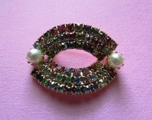 1960s rhinestone brooch   60s vintage double pearl, golden and pastel brooch   Springtime Confetti Brooch
