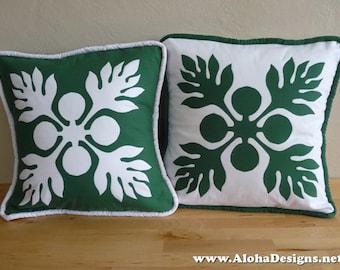 Hawaiian Quilt Pillow Covers - green breadfruit ('ulu)