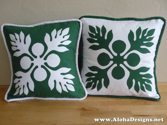Hawaiian Quilt Pillow Covers green breadfruit 'ulu : hawaiian quilt pillows - Adamdwight.com
