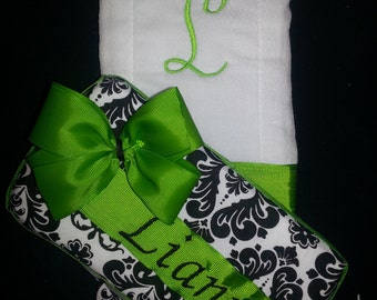 Personalized Diaper Wipe Case & Burp Cloth Set