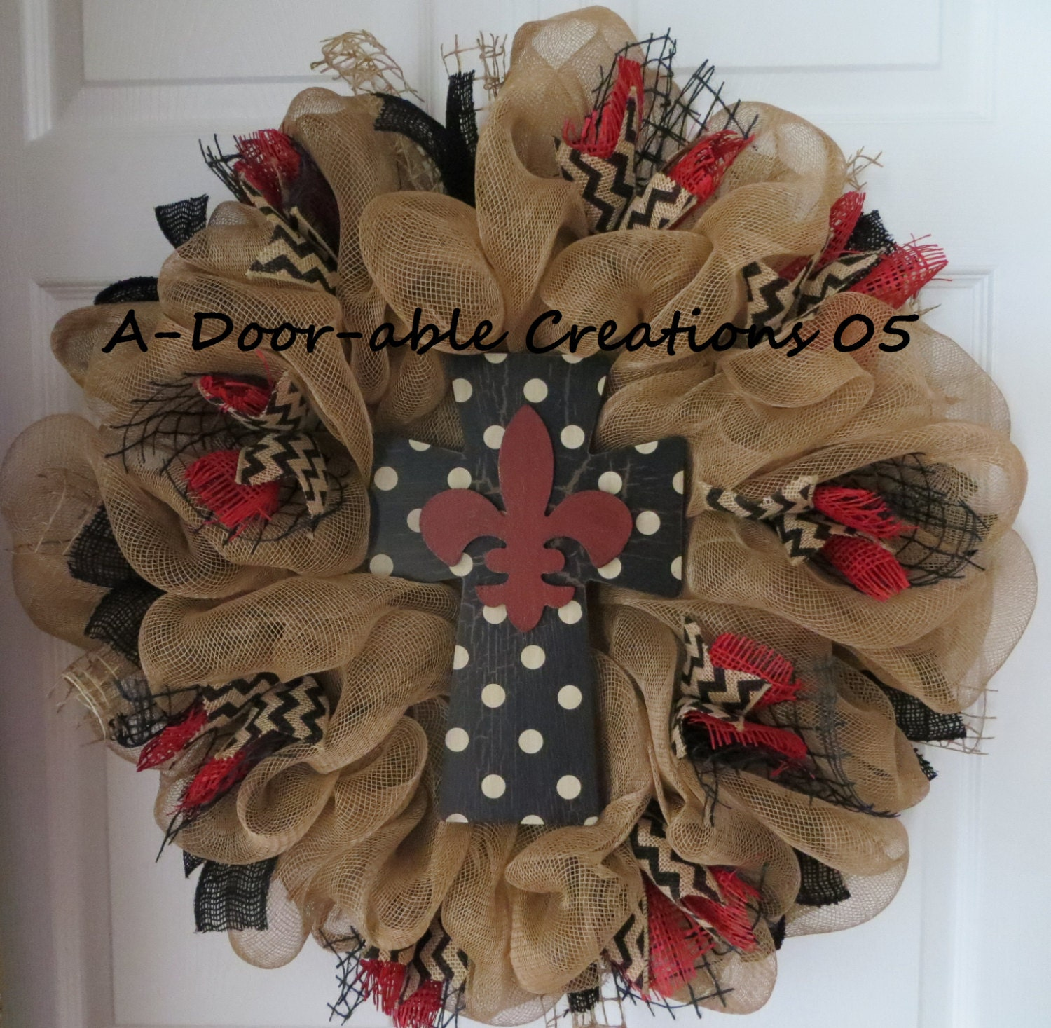 fleur de lis cross burlap deco mesh wreath. Black Bedroom Furniture Sets. Home Design Ideas