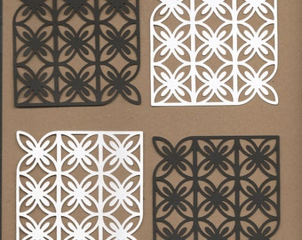 12- 3.5 inch squares Black and White Paper Lace Cricut Die Cut