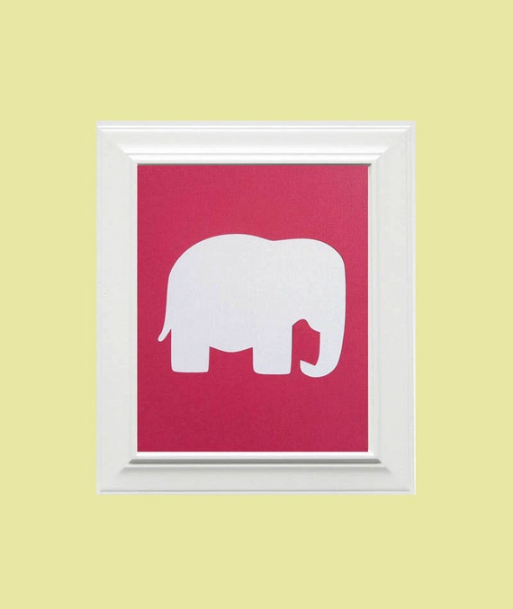 Custom Personalized Elephant/Animal Picture, Children's Wall Art, Kid's Wall Art, Nursery Wall Art, Elephant Wall Art-Pink, White