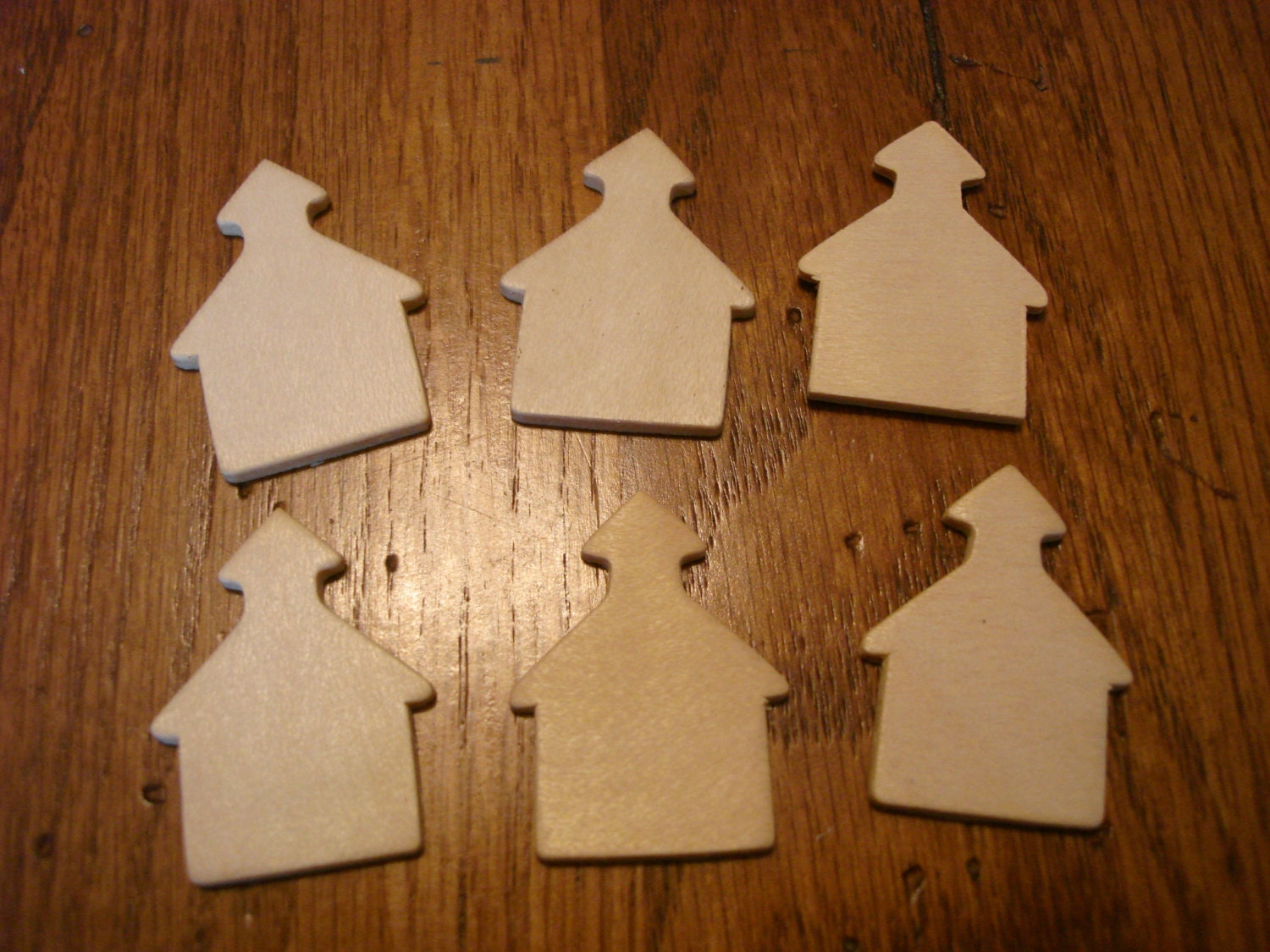 6 piece unfinished schoolhouse wooden cut outs craft for Unfinished wood pieces for crafts