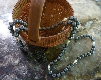 Hematite and Freshwater Pearl Beads Necklace