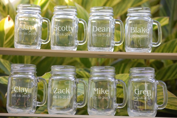 Engraved Wedding Party Gifts: 8 Mason Jar Wedding Glasses Wedding Party Personalized Mugs