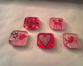 Glass Tile Valentine Magnets - Group of 5
