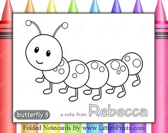 Color Your Own Caterpillar Note Cards Set of 10 personalized flat or folded cards