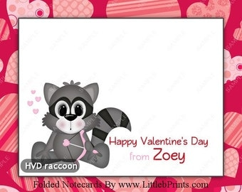 Personalized Valentine Raccoon Love Pink Hearts Design