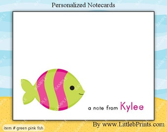 Fish under the sea Note Cards Set of 10 personalized flat or folded cards