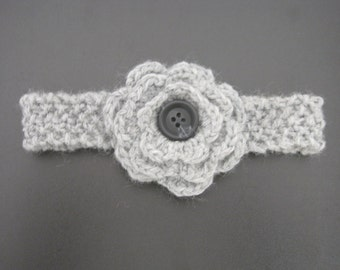 Gray Flower Headband--All Sizes--Customized