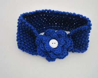 Cobalt Knit Flower Headband--All Sizes--Customized
