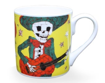 Day of the Dead Dia De Los Muertos Mug Skeleton Playing Guitar