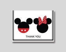 INSTANT DOWNLOAD Mickey & Minnie Mouse Thank You Card -  DIY Printable