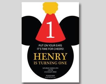 Mickey Mouse Party Hat Birthday Invitation - Custom DIY Printable