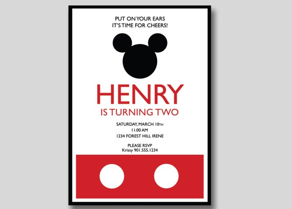 Handmade Mickey Mouse Invitations as perfect invitations sample