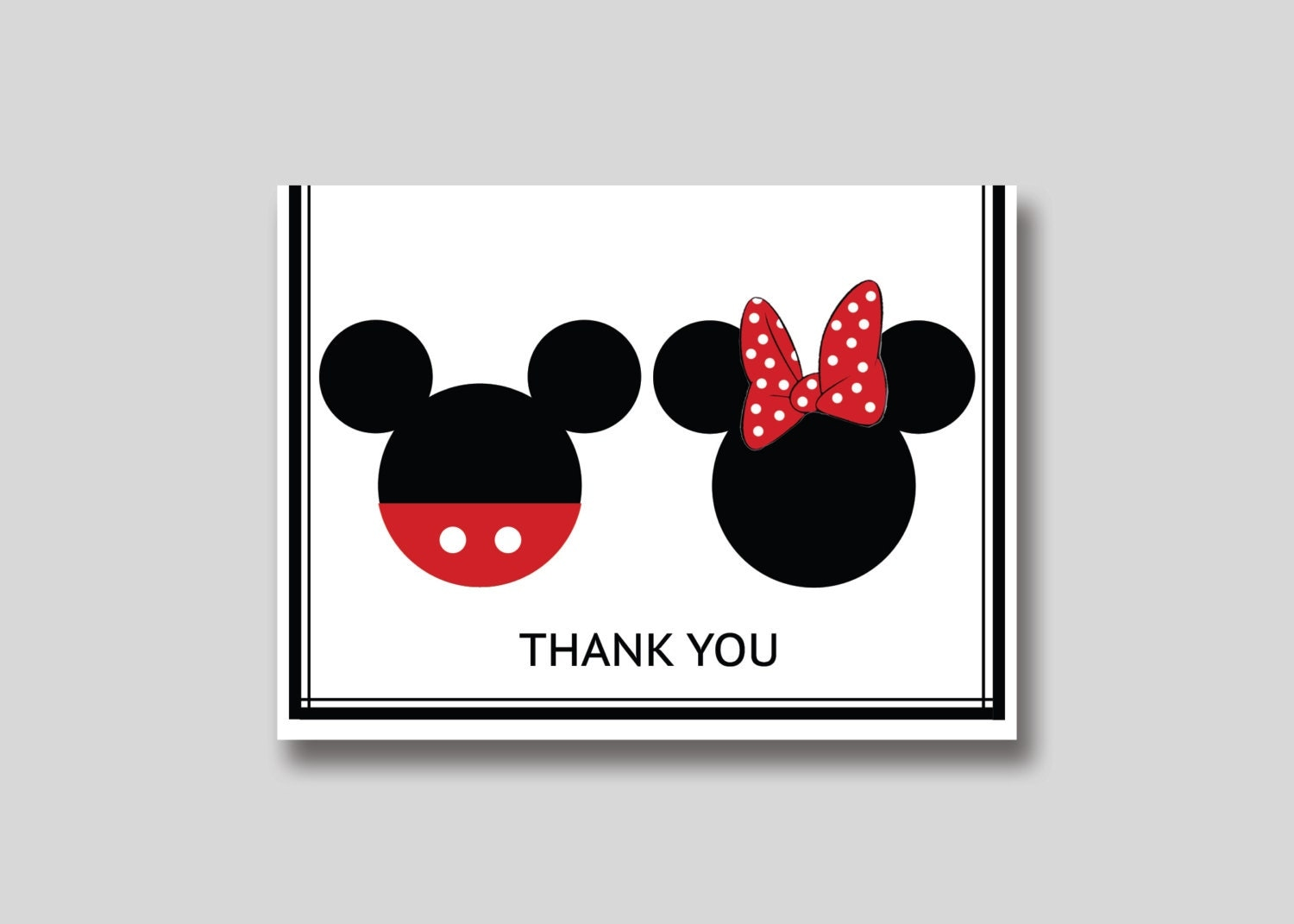 INSTANT DOWNLOAD Mickey & Minnie Mouse Thank You Card DIY