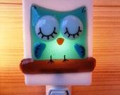 Nightlight owl, fused glass, turquoise, baby, room decoration, nursery, shower gift, kid room, children - VeilleSurToi