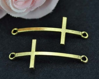 15pcs Sideways Cross Charms, Antique Gold sideways cross charms connectors 22x52mm