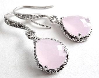 Silver Earrings - Cloudy Pink Glass Teardrops
