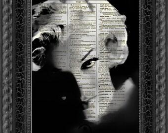 Marilyn Monroe, Dark Marilyn Dictionary Art Print, Marilyn Monroe Art, Wall Decor, Dictionary Page Art, Mixed Media Digital Collage